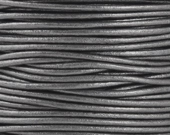 Leather-2mm-Round Cord-Soft-Metallic Gunmetal-10 Meter Spool