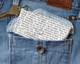 Book Lover's Keychain Wallet - Student ID Holder - Librarian Gift - Book Nerd - Literary Gift - Literary Wedding Gift