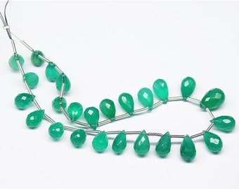 VALENTINE SALE 55% Green Onyx Faceted Tear Drop Briolette Beads Strand, 8 Inches, 8-12mm, SKU6520R