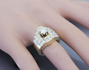 14K Yellow Gold Round and Princess Cut Diamond Engagement Ring Prong Set Bridal Anniversary Wedding Propose 2.40ctw