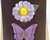 Marikit Designs Lilac purple lavender Butterfly flower bow hair clips  set
