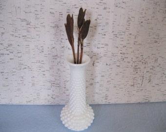 Hobnail Milk Glass Vase / E O Brody / Made in USA
