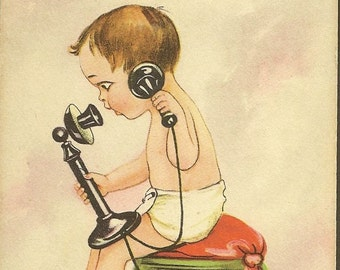 Funny Vintage Postcard Baby on Stick Phone – Don't Tell a Phone! Just Tell Me – Unused Bergman Postcard 1913 ~ Must be Hot Gossip