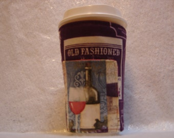 Arti REVERSIBLE Coffee Cup Sleeve, WINE and Vineyards For STARBUCKS To-Go Cups / with Pocket