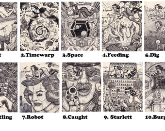 POSTCARDS by David Jablow Doodler Series 20 to choose from!