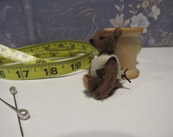 "Cecil,   2.25""  Miniature Jointed OOAK Artist Teddy Bear Cub"