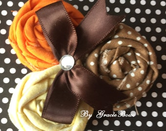 Brown, Orange, and Yellow Rosette Cluster Flower Hair Clip