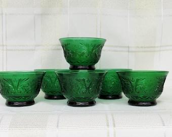 Vintage Anchor Hocking Set of 6 Forest Green Custard Cup Sandwich Glass Dessert Bowls