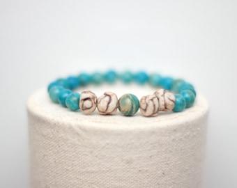 Blue Chrysocolla Stretch Bracelet - Imperial Jasper and Ceramic Knot Beads - Unisex Bracelet - Yoga Jewelry - Valentine Gift Idea