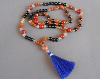 Mala Rudraksha 108 beads with tiny silver sterling bead black onyx jaspis citrine moonstone tourmalated quartz necklace/ 30 inches long