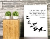Jane Eyre Print. Charlotte Bronte Digital Print. Bird Quote. Love Print. 8x10. Black and White. Digital Print. Motivational. Inspirational