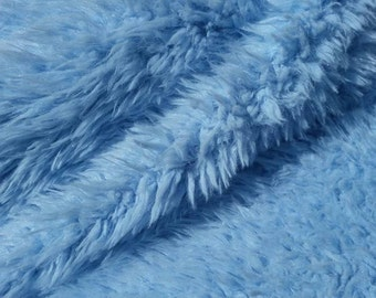 Baby Blue/Light Blue Shaggy Sherminky Faux Fur Craft Size