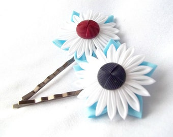 Kanzashi Flower Bobby Pins Red White and Blue Fabric Origami