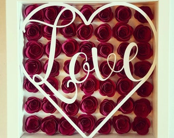 Love 3d paper flowers frame and papercut