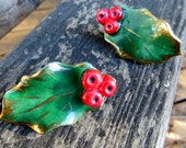 Ceramic Holly Leaf Vintage Christmas Holiday Clip on Earrings