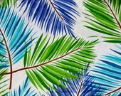 One Yard Cotton Fabric Palm Fronds Leaves Blues and Greens Light and Breezy Summer Fabric