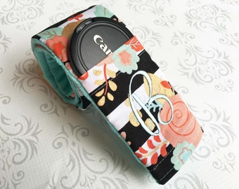 Camera Strap Cover Padded with Lens Cap Pocket and Minky, Photographer Gift, Canon, Nikon, DSLR Photography - Floral Striped with Aqua