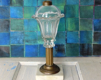 Vintage Kerosene Oil Lamp Marble / Brass Base / Pressed Glass Oil Lamp / Font Oil Lamp