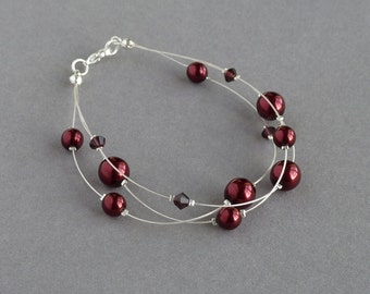 Burgundy Floating Pearl Bracelet - Dark Red Multi-strand bracelets - Claret Bridesmaids Jewellery - Marsala Wedding - Bridal Party Gifts