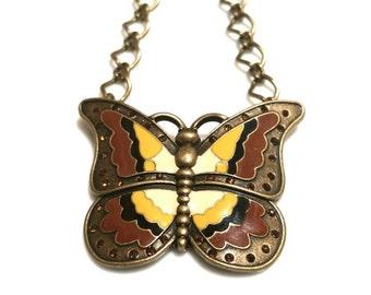 Brass Butterfly Necklace Rhinestones Womens Gift for Her Girlfriend Gift Teen Girls Sale Jewelry