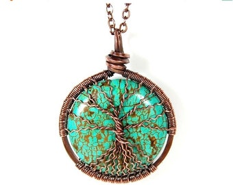 25% OFF Vacation Sale Spindly Roots and Branches Round Turquoise Tree of Life Necklace in Antique Copper.