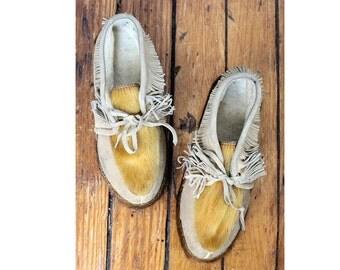 Handmade Suede and Deer Fur Moccasins 6 • 70s Fringe Moccasin Boots • Fleece-lined, Hard Sole Moccasin Shoe | SH165