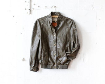 Green Leather Bomber Jacket S/M • 70s Leather Jacket with Raglan Sleeves • B. Altman Bomber Jacket Leather | O208