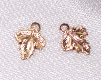 14k Gold Filled TINY Maple Leaf CHARMS * 2 pcs * 8mm x 10mm