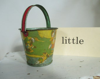 Vintage Tin Litho Sand Pail Bucket - J. Chein Small Tin Pail - Red Green Yellow - Pond Scene - goose, frogs, duck