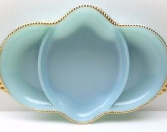Vintage Fire King Blue Glass Divided Dish