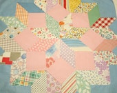 Pink and Blue Unfinished Quilt Top Block in Star of Bethlehem Pattern - 21 by 21 Inches
