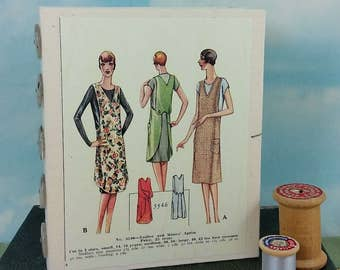 Ladies Aprons Fashion Journal with Vintage 1920's Sewing Pattern Wraparound Cover