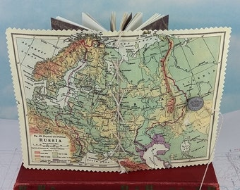 Russia Map Travel Journal with Vintage 1920's Geography Textbook Russian Map Cover