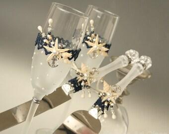 BEACH champagne flutes ,Cake Server Set,  Beach Wedding Glasses, Champagne Flutes, Starfish Glasses, Hand Painted Set of 2