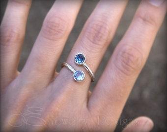 DUAL BIRTHSTONE RING - 6mm gemstones, mother's ring, birthstone ring, two birthstones, dual gemstone ring, sterling silver