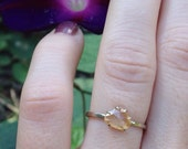 Rose Cut Yellow Sapphire Alternative Engagement Ring Golden Sapphire 14K White Gold