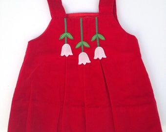 Vintage Red Velvet Jumper / Dress / Tunic - Tuliip - Size 12 / 18 Months - 70s Retro - Spring / Easter Dress