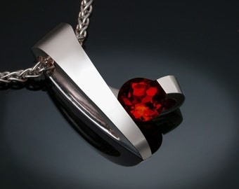 garnet necklace, silver necklace, red necklace, Mozambique garnet, January birthstone, Christmas necklace, artisan jewelry, for her - 3451