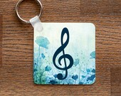Treble Clef Keychain - Music Themed with Blue Flowers