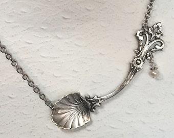 Sterling Silver Spoon Necklace, Salt Spoon Pendant, White pearls, Silverware Jewelry