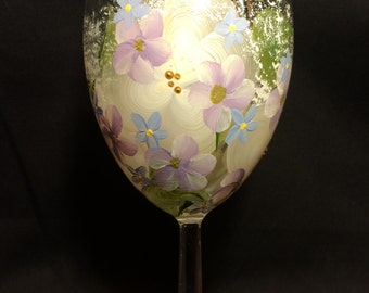 Hand Painted Wine Glass - Pastel Garden
