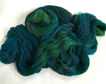 Gwithian Tussah Silk Cobweb Lace. Secret Ocean