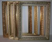 5 Vintage Gold Filigree Picture Frames Shabby Chic Wedding Decor