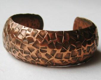 Vintage 50s Mid Century Modernist Solid Copper Cuff Bracelet