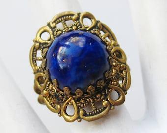 Vintage 40s Brass Repousse Art Nouveau Sapphire Czech Glass Jeweled Cocktail Ring