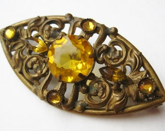 Vintage 40s Czech Amber Jeweled Glass Filigree Brooch Pin