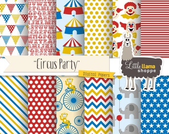 Circus Digital Paper, Carnival Scrapbook Paper Pack, 8.5x11 and 12x12, INSTANT DOWNLOAD