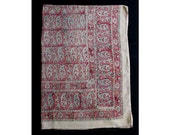 """Twin Size Bedspread - 1940s 50s 60s Indian Block Print Bed Spread - Vintage Paisley Bedroom Linens - Cotton Bed Cover - 72 x 104.5"""" - 46739"""