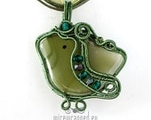OOAK Green birdie fused glass wire wrapped pendant