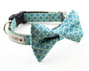 Blue Green Geometric Bowtie Dog Collar